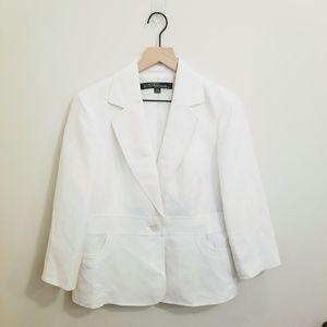Kasper Women's White Linen Blazer Suit Jacket 10P